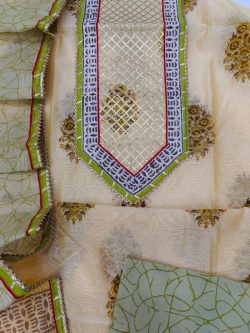 Dull green and Medium Champagne new embroidery designs salwar kameez with Chanderi cotton dupatta