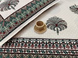 King size Beige And green floral print cotton bed sheet