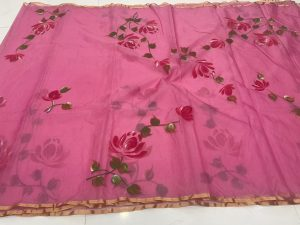 Pink Sherbet organza silk saree With blouse collection