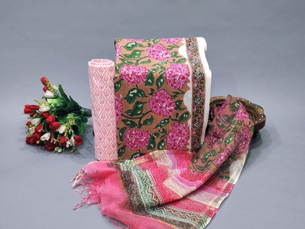 Dark Salmon And white office wear salwar kameez designs with dupatta