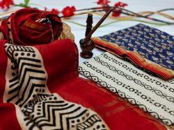 Maroon And blue chanderi silk suits wholesale