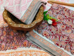 Apricot and silver cotton suits with chiffon dupatta
