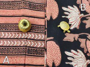 Black and Dark Salmon Jaipuri running material set