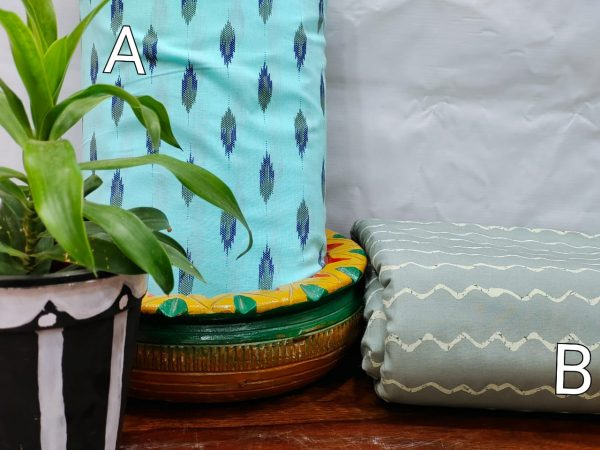 Cyan and Steel Teal pure cotton running material