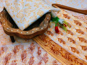 Peach and white cotton dress material with chiffon dupatta wholesale