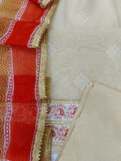 Orange and Medium Champagne embroidery cotton suit with Chanderi cotton dupatta