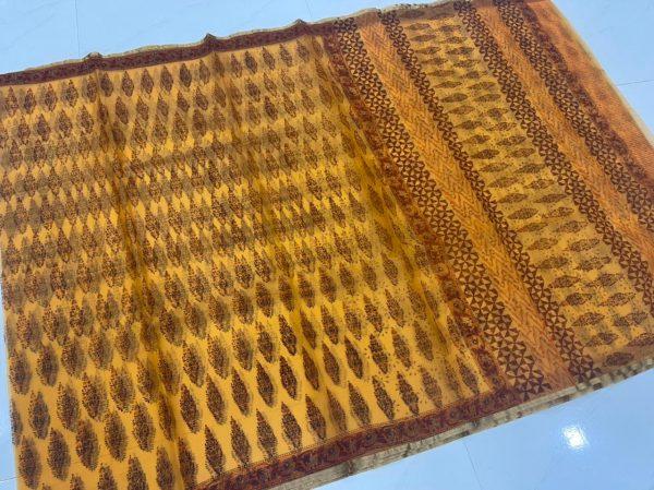 Yellow organza silk banarasi saree with blouse