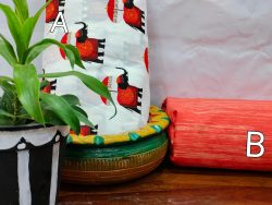 White and coral red pure cotton running material set