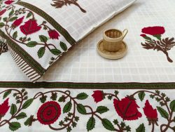 Khadi print White cotton floral bed sheet with pillow cover
