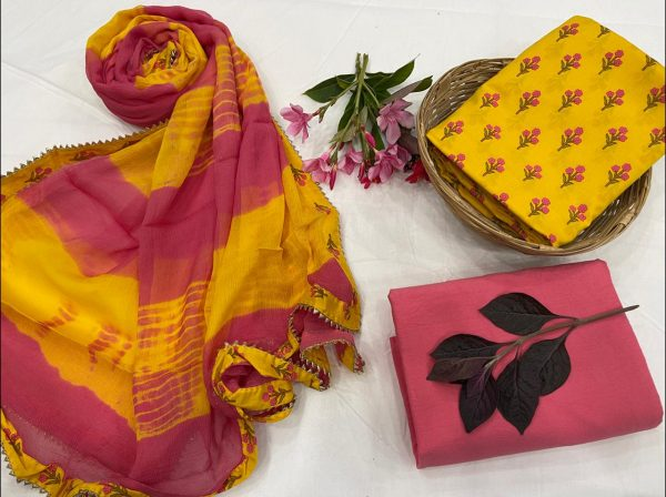 Amber and Pink sharbet cotton salwar suit set with Chiffon Bordered dupatta