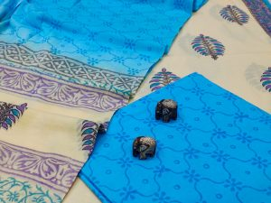 Deep Sky Blue And blue  cotton suit with bandhani dupatta