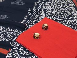 Black and maroon cotton salwar suit set with dupatta