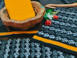 Amber and black cotton suits with chiffon dupatta