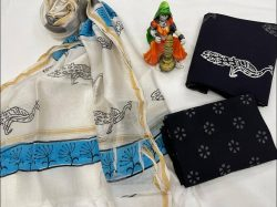 White and black cotton suit with chanderi dupatta
