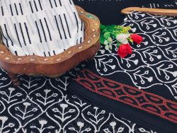 Black and white cotton salwar suits with chiffon dupatta