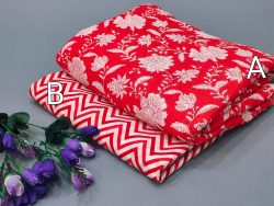 Carmine Red Floral print cotton running material