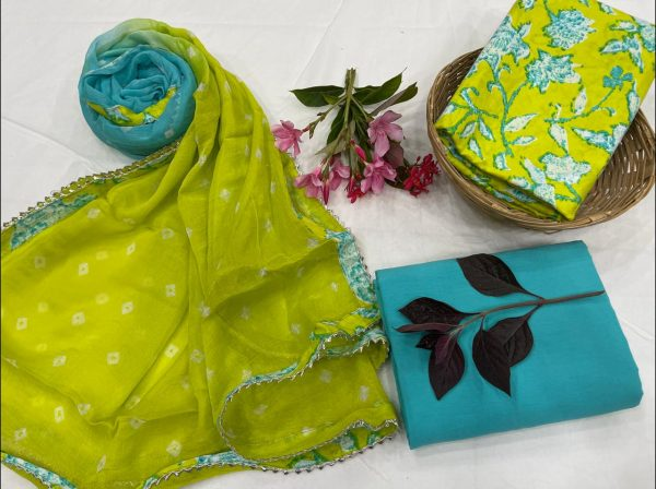 Lime and azure cotton salwar suit set with Chiffon Bordered dupatta