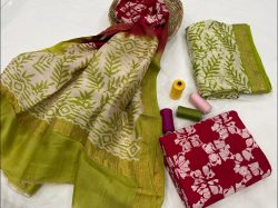 Lime and red  maheshwari silk suit set with dupatta