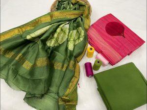 Green maheshwari silk suit set