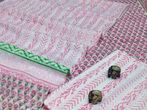 Pink and white  floral print cotton suit with bandhani dupatta