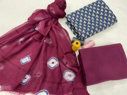 Big Dip O' Ruby And blue cotton suit with chiffon dupatta