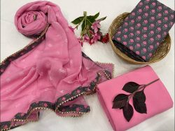 Pink and Dotcom blue cotton embroidery salwar suit With chiffon dupatta