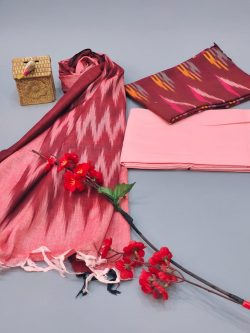 Brick red And salmon Pink Ikkat suit set with dupatta