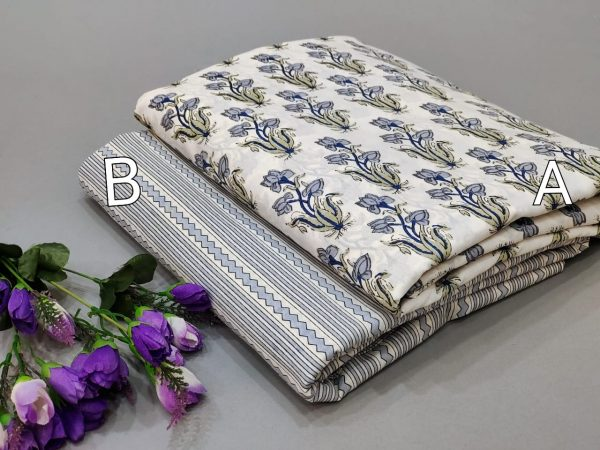 White And white floral print running fabric