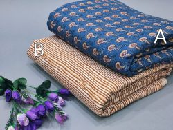 Azure and Brown floral print pure cotton running material