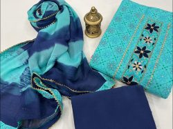 Cyan and blue cotton suits printed gota hand work suit
