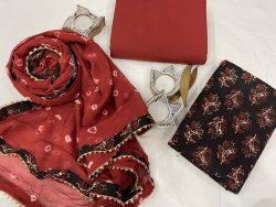 Sangria And black floral print Chiffon Border dupatta cotton suit