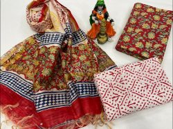 Carmine And white  cotton suit with chanderi dupatta