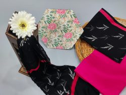 Rose and Black pure cotton dress materials with chiffon dupatta