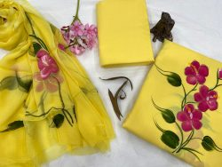Yellow And Rouge cotton suit with chiffon dupatta