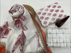 White Pigment print cotton suit with dupatta