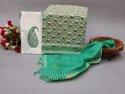 White and Pale Green Mugal print cotton suit with kota dupatta