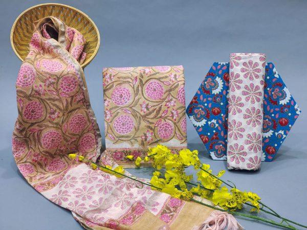 Apricot floral print chanderi cotton salwar suit set with dupatta