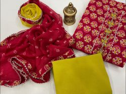 Red crimson and lime embroidered salwar suit dress material