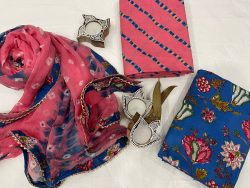 Blue and Pink floral print cotton salwar suit set with Chiffon Bordered dupatta