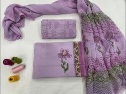 Mauve floral print cotton suit chiffon dupatta