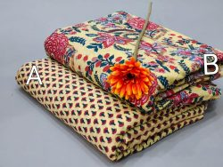 Yellow floral print pure cotton running material set