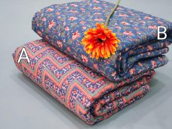 Blue and coral Jaipuri cotton running material set