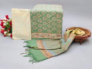 Green cotton salwar suit with kota doria dupatta