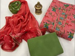 Salmon And Green Citrus embroidery cotton suit with chiffon dupatta