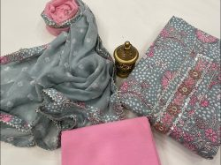 Gray and Pink Cotton printed gota hand work suit set