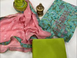 Turquoise And Green Citrus embroidery suit design with chiffon dupatta