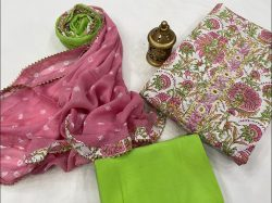 White and dull green gota work suit WIth chiffon dupatta online