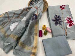 Gray Floral print maheshwari silk suit set with dupatta