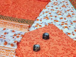 Orange and off whitw cotton suits with cotton dupatta