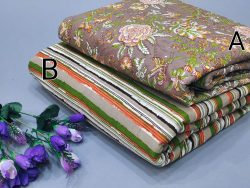 Green and slate gray floral print pure cotton running material set